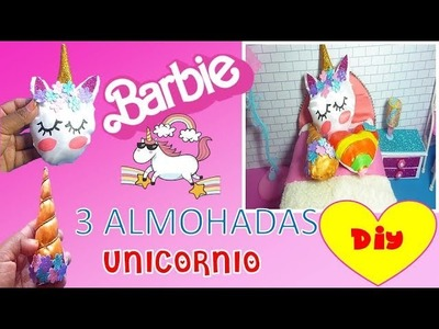 DIY | Como hacer almohadas de unicornio para muñecas Barbie - cojines kawaii  para barbie