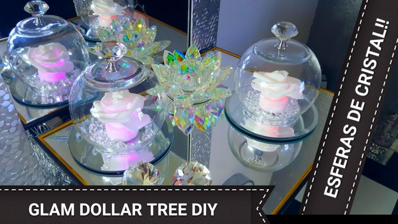 Diy???? Esferas de cristal ????con flor de luz???? dollar tree.diy centros de mesa elegantes y fáciles