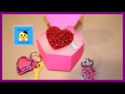 DIY! llaveros en forma de corazon (DIY heart keychain)