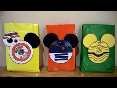 DIY Star Wars Mickey  R2D2, C3PO, BB8, para bolsitas de regalo, dulceros, guirnaldas.