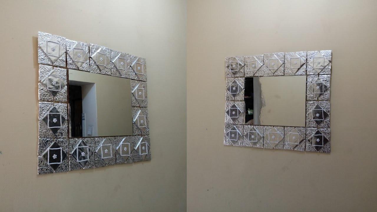 Espejo de marco reciclado fácil y económico, using recycling.