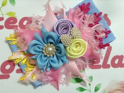 Flor de listón perfecta en tiara VIDEO No.571 creaciones rosa isela