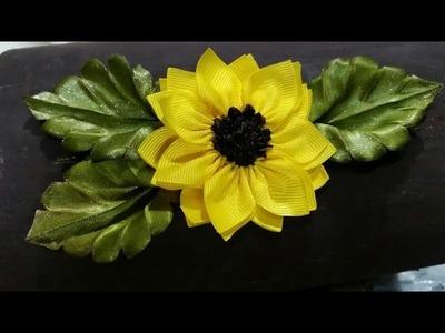 Flor girasol de listón. Flor de fita girassolSunflower ribbon flower. ひまわりリボンの花. Подсолнух цветок