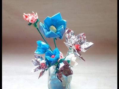 Flores hechas con envolturas de galletas o cereal
