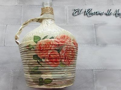 Garrafa de vino decorada con craquelado y decoupage -Diy manualidades