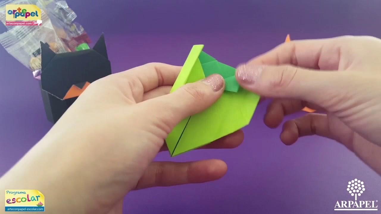Gato Dulcero de Origami. Origami Cat Candy Holder