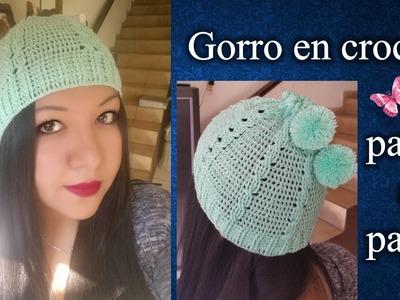 GORRO PARA DAMA en crochet PASO A PASO