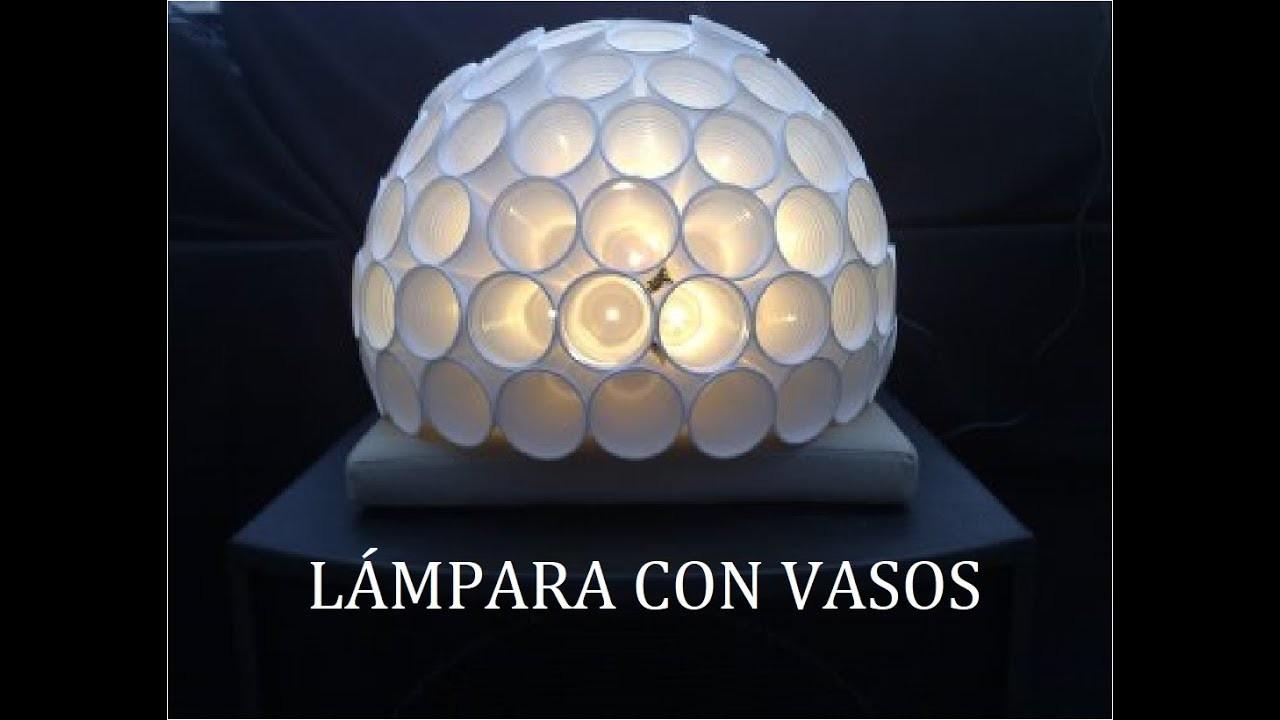 Lámpara con vasos (DIY), fácil de hacer.