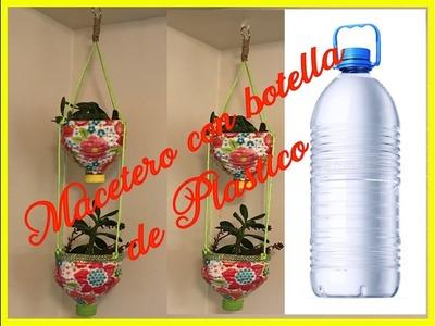 Macetero con botella de plastico (Reciclaje)