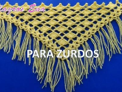 PARA ZURDOS: Punto a Crochet ABANICOS combinado con punto Red para CHALES EN V y TRIANGULARES