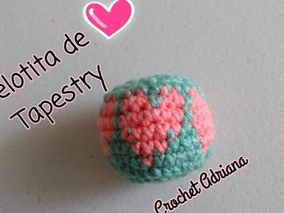 Pelotita de corazón tapestry amigurumi. Crochet Adriana