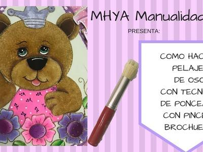 Pintura en tela. Como hacer pelaje de oso. Como pintar una Osita? por Miss Drylu