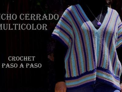 PONCHO CHALECO Cerrado - SUETER sin Mangas - CROCHET Paso a Paso