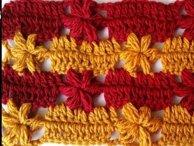 PUNTADA DE FLOR No  2 en crochet PASO A PASO