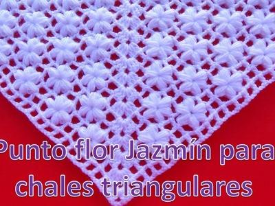 Punto a crochet para chales triangulares FLOR JAZMÍN paso a paso primera forma