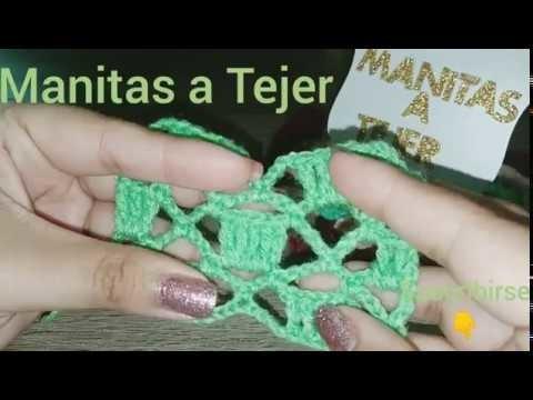 Punto CUADRADOS EN DIAMANTES a crochet (punto#2)