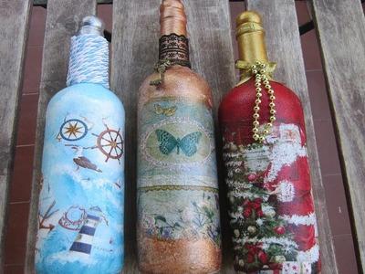 Reciclado de 3 botellas de vino con diferentes estilos