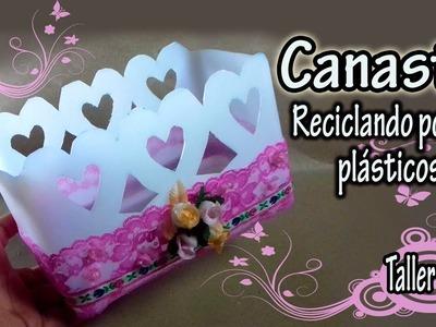 REGALOS PARA MAMÁ. canasta con potes plásticos reciclados|Taller Lash