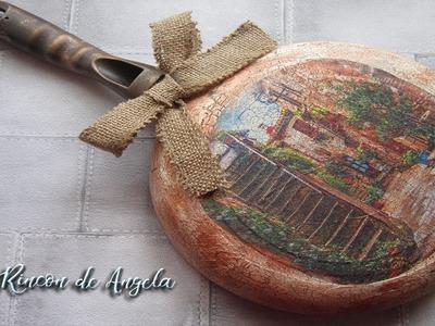 Sarten reciclada con decoupage y craquelado, estilo rustico-Diy manualidades