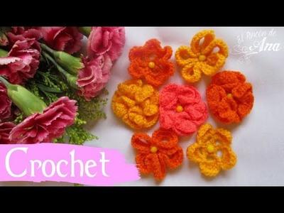 Servilleta con flores tejidas con ganchillo