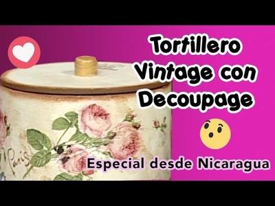 Tortillero Vintage con Decoupage - desde Nicaragua
