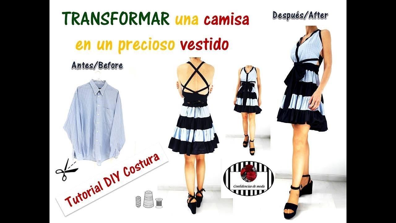Transformar una camisa en un precioso vestido. DIY Costura. Transform a shirt into a beautiful dress