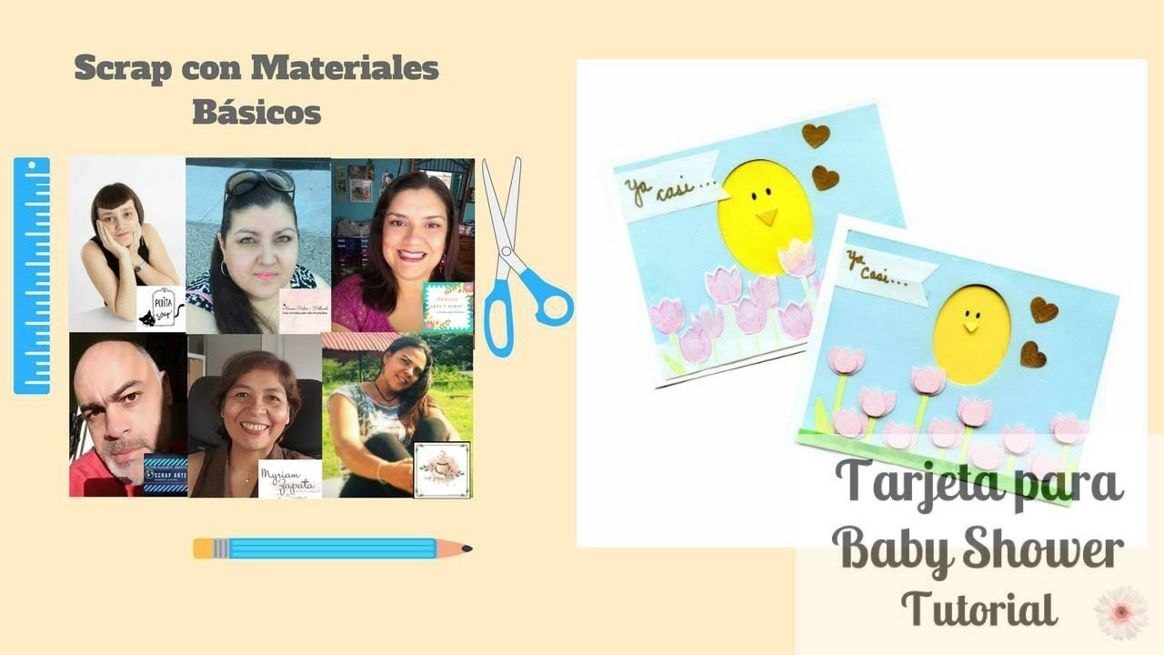 Tutorial DIY. Scrap con materiales basicos. Tarjeta para baby shower