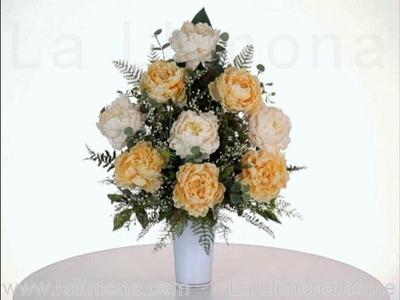 Arreglos florales - Centro de flores artificiales peonias amarillas y blancas - La Llimona home