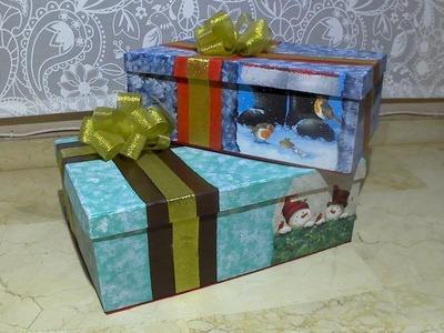 Cajas de cartón decoradas para Navidad