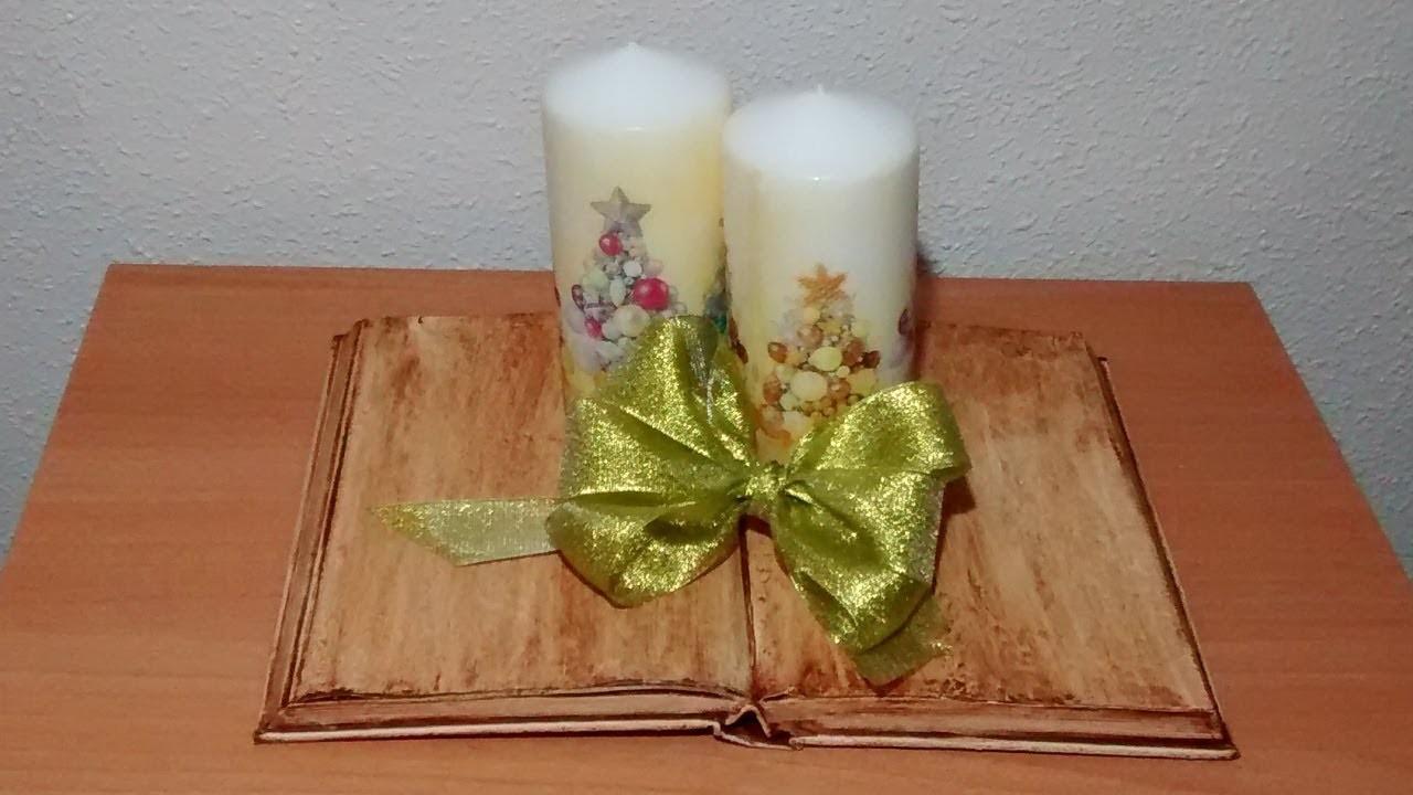 Centro de Navidad con libro envejecido y velas con decoupage.