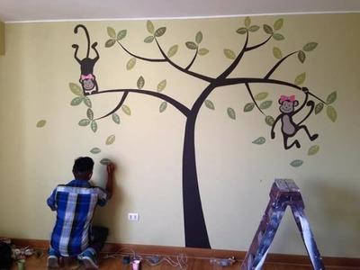 Como decorar una pared para habitacion de bebes Ideas - pintando Monitos