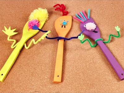 Como hacer Marionetas con Cucharas de Madera - Juguetes para Niños con Materiales Caseros
