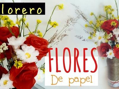 Cómo hacer ramo de flores de papel + decoración florero