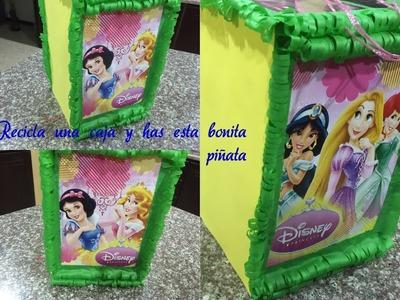 Como hacer una piñata facil de Princesas, Reciclando una caja