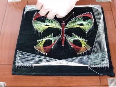 Cuadro con hilos tensados mariposa string art