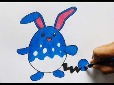 Dibujando y pintando a Azurill (pokemon) - Drawing and painting Azurill