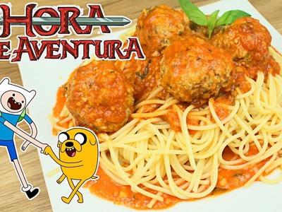 Espaguetis con Albóndigas de Hora de Aventura