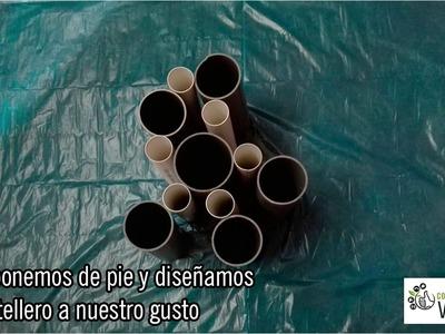 Botellero con tubos de PVC