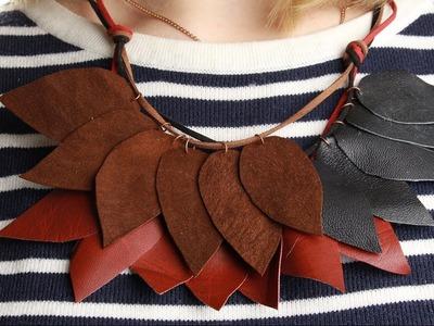 Collar de hojas hecho de cuero