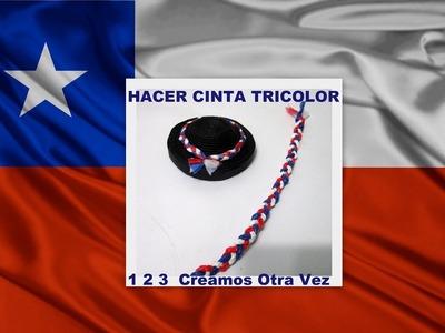 COMO HACER CINTA TRICOLOR PARA FIESTAS PATRIAS CHILENAS CON MATERIAL RECICLADO