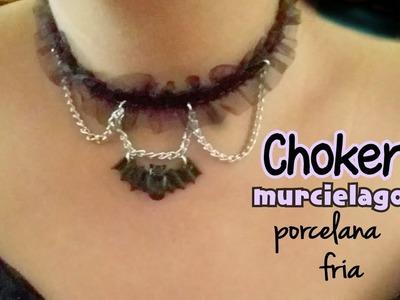 Como hacer un Choker Murciélago PORCELANA FRIA