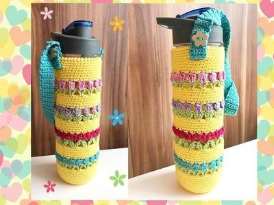Cómo hacer un Portabotella con Tulipanes al crochet - La Magia del Crochet -