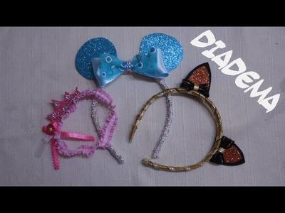 Diademas para niñas con goma eva - Orejitas de gato, ratón y coronita