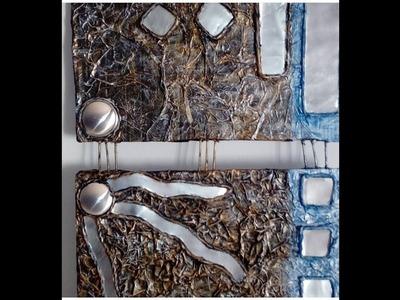 Diptico hechos con carton y latas de refresco