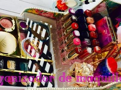 DIY organizador de maquillaje  de carton. colaboración novedades con katherine.oh pink love