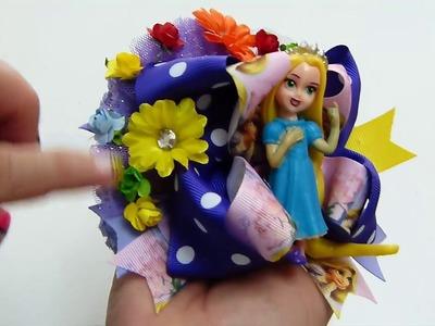 Hermoso Moño Tematico princesa Rapunzel, Moños Doble Boutique FAcil elaboracion