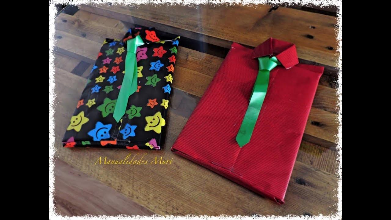 Manualidades. Envolver Regalos en forma de Camisa con Corbata, dial del padre.