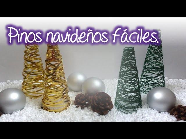 Pinos Navideños fáciles  de cordón y alambre, easy christmas pine of cord and wire