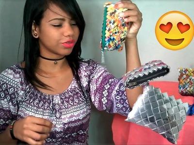 Bolsos hechos con material de reciclaje