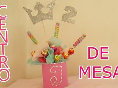 Centro de mesa para cumpleaño infantil de princesa
